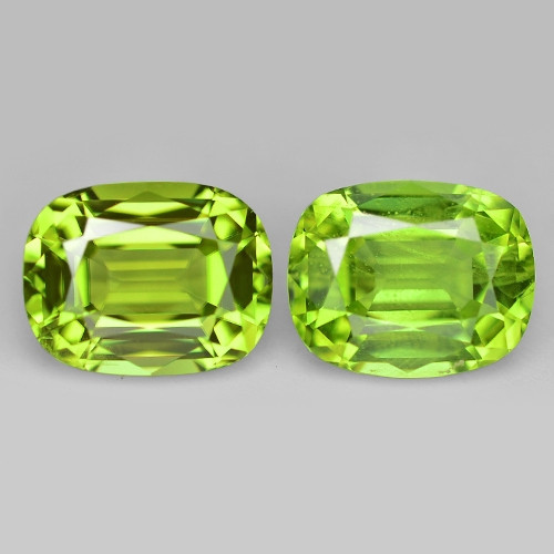 3.20 Cts 2pcs Pair  7x6 mm Green Color Natural BURMA Peridot Gemstone