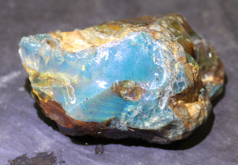 Dominican Natural Crystal Clear Sky Blue Amber Rough Specimen 82x58x43mm 77