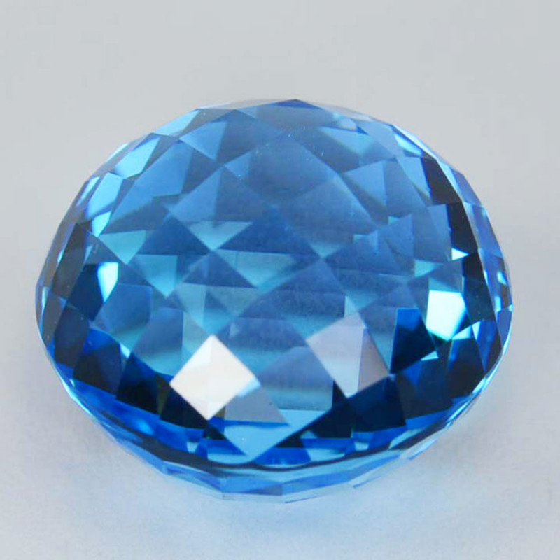 Perfect 16.64 Cts Natural Sky Blue Topaz 14mm Round Checker Collection Gem