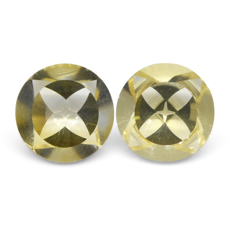 15.66 ct Round Citrine Fantasy Cut Pair