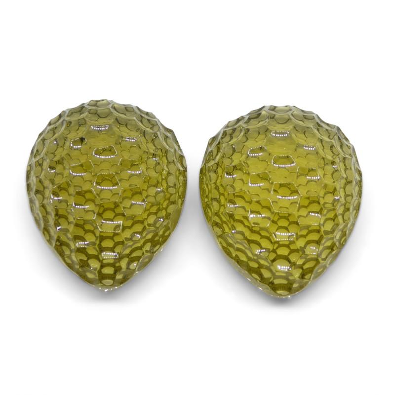46.63 ct Pear Lemon Citrine Fantasy Cut Pair