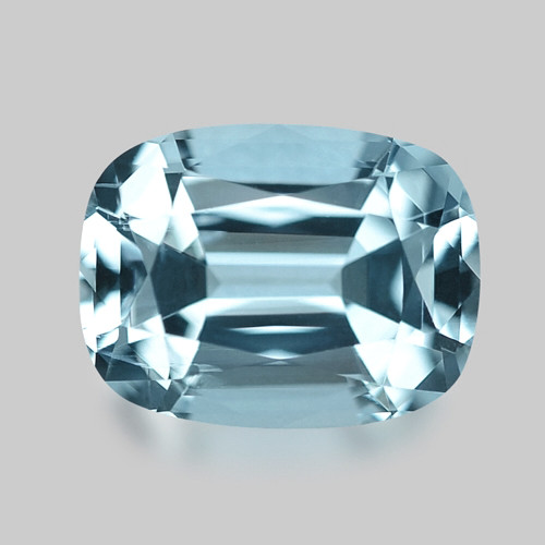 Exquisite, precision custom cushion cut Santa-Maria aquamarine.