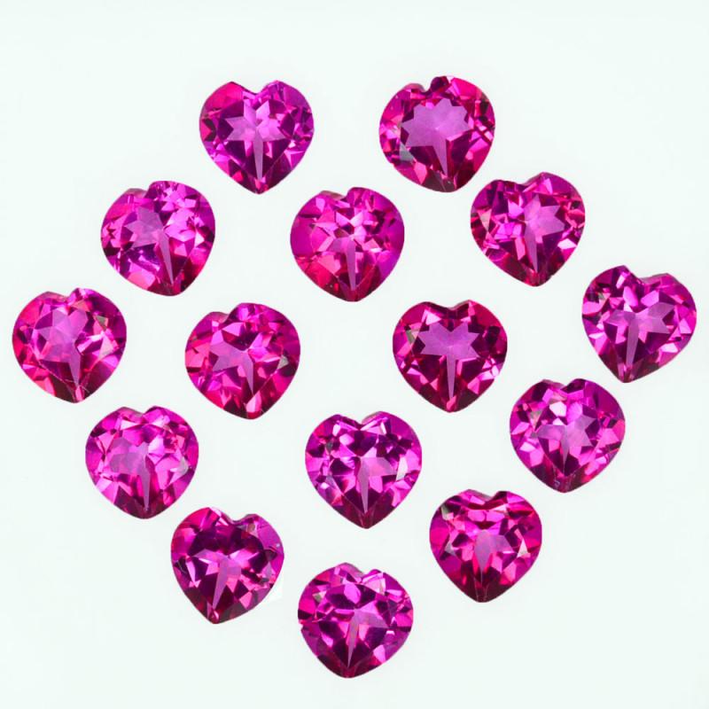 15.02 Cts Candy Pink Natural Topaz 6mm Heart Shape Cut Brazil