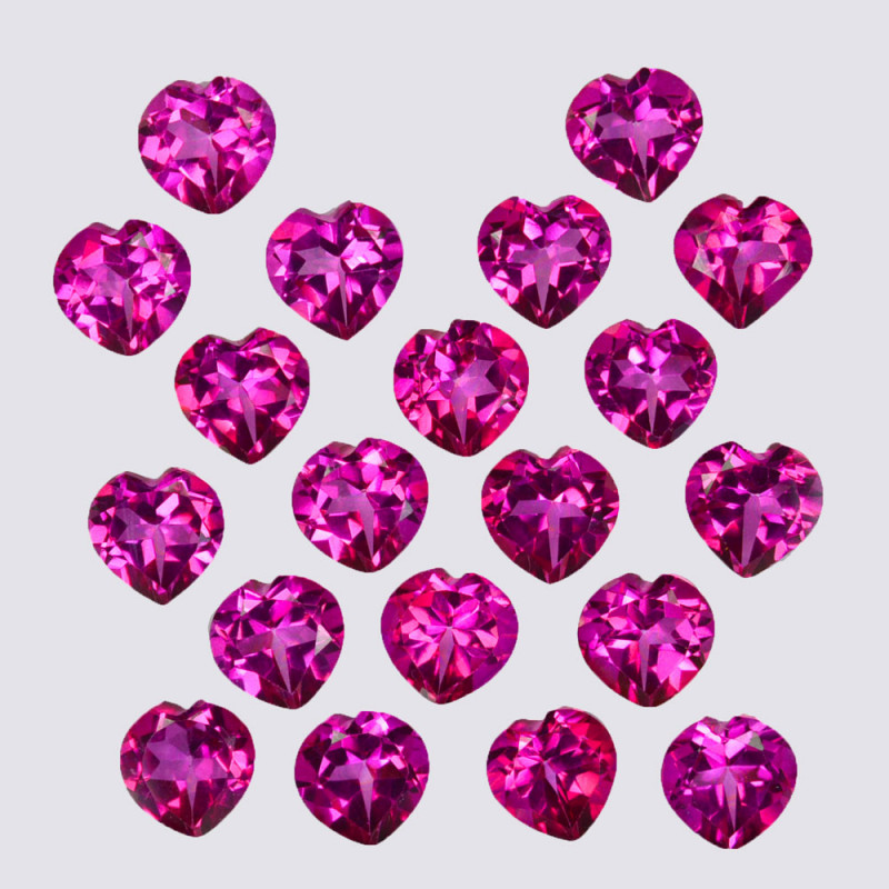 19.86 Cts Candy Pink Natural Topaz 6x4mm Heart Shape Cut Brazil