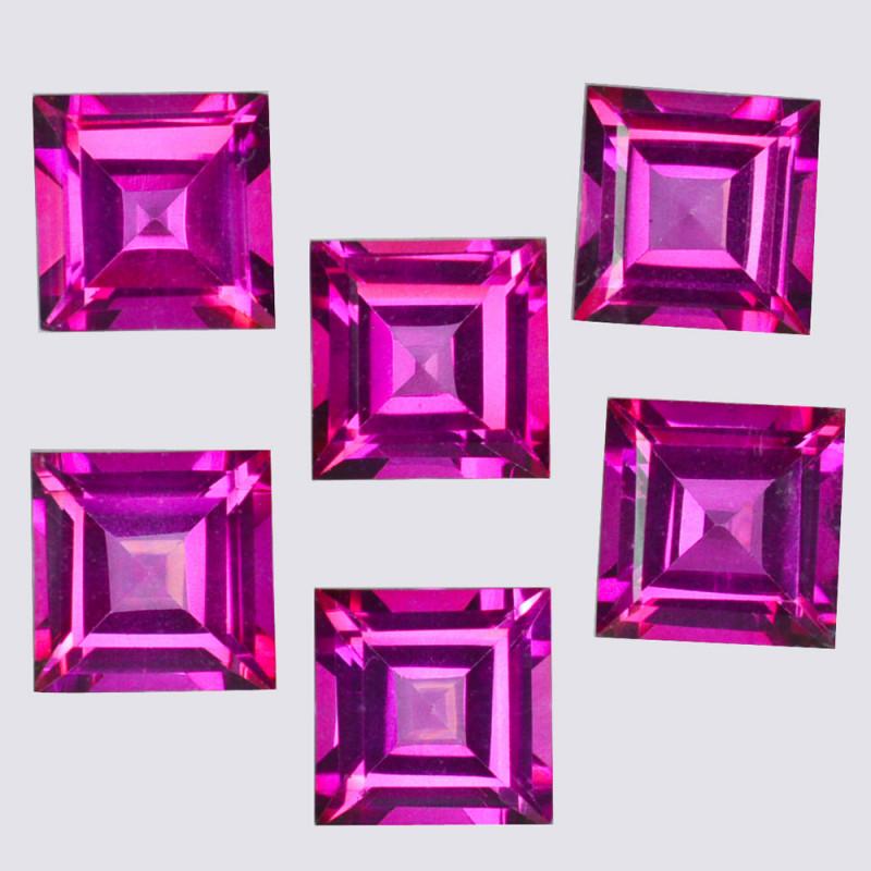26.25 Cts Candy Pink Natural Topaz 9x9mm Square Princess Cut Brazil