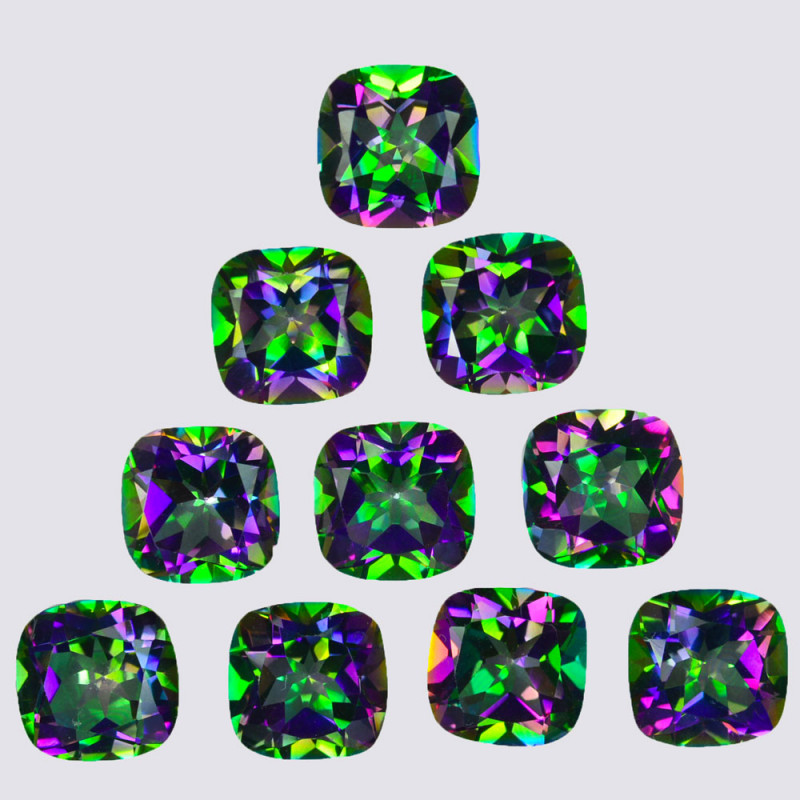 ~RAINBOW~ 26.80Cts Natural Mystic Topaz 8mm Cushion Cut Brazil