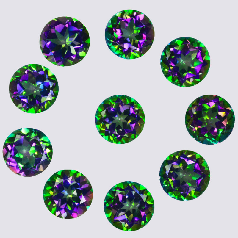 ~RAINBOW~ 25.31 Cts Natural Mystic Topaz 8mm Round Cut Brazil
