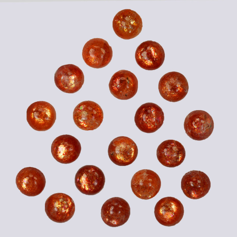 10.42 Natural Andesine Sunstone Cabochon Round 5mm Gem India