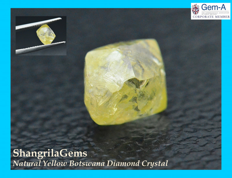 2.24ct 7.3mm Natural Yellow Diamond Crystal from Botswana  7.3 by 7.2 by 5.