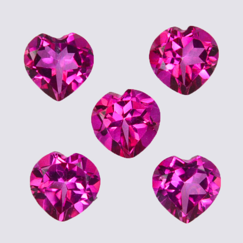 5.15 Cts Candy Pink Natural Topaz 6mm Heart Shape Cut Brazil