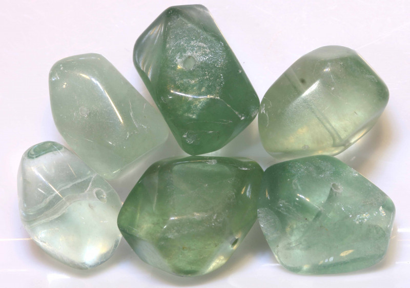 187 CTS CHINESE  NEPHRITE JADE STONE DRILLED (6PC)  NP-557