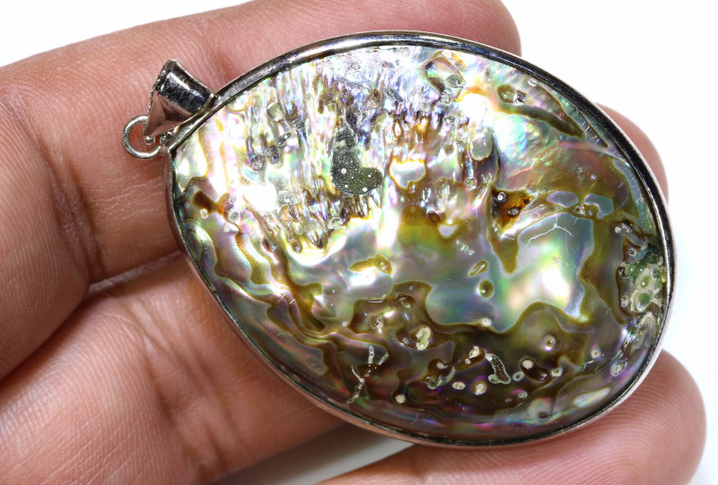 46.95 CTS PAUA SHELL PENDANT NATURAL DOUBLE SIDED NP-587
