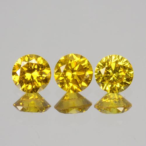 ~SET~ 0.04Cts Natural Sparkling Yellow Diamond 3Pcs Round Africa