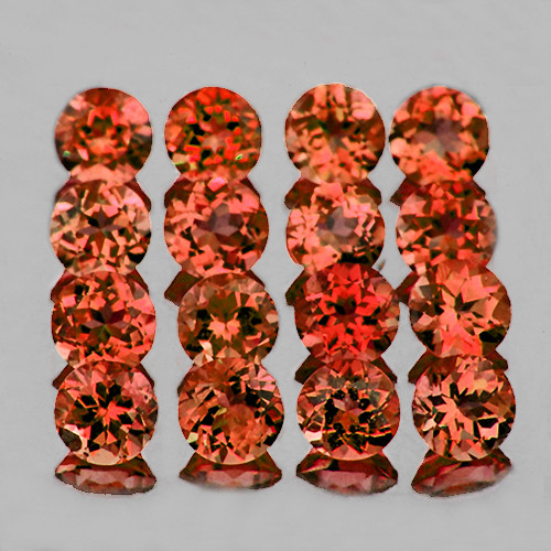 2.50 mm Round 30 pcs 2.43cts Orange Red Garnet [VVS]