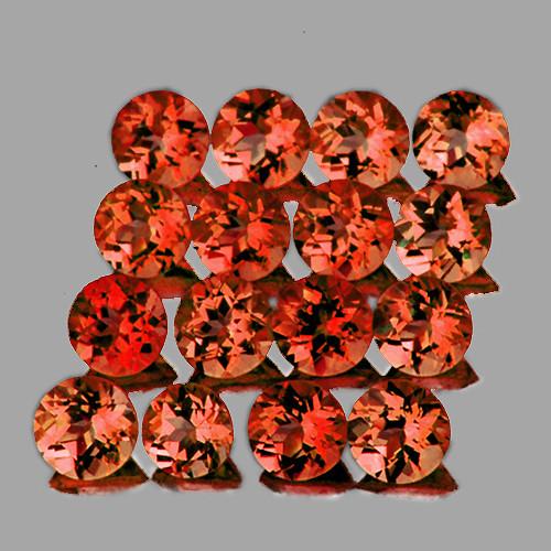 2.50 mm Round 30 pcs 2.46cts Orange Red Garnet [VVS]