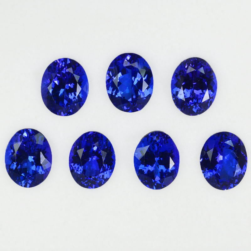22.24 Cts Natural AAA+ Blue Tanzanite 10x8mm Oval Cut 7Pcs Tanzania