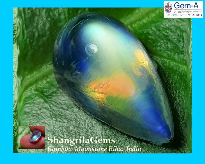 4.12ct 13mm AAA Rainbow Moonstone cabochon drop pear