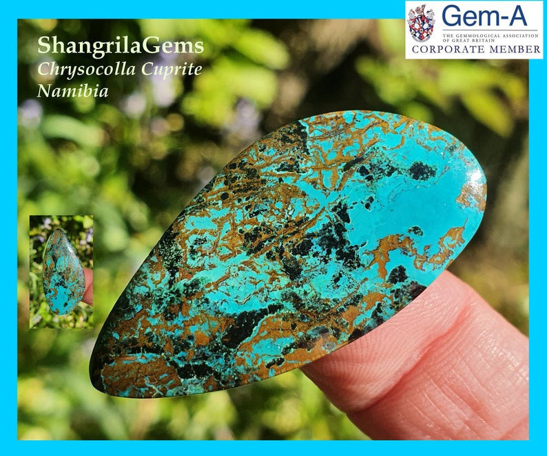 39.5mm 30.75ct Chrysocolla with Cuprite Namibia cabochon freeform 39.5 by 1