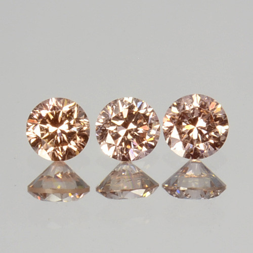 ~UNTREATED~ 0.12 Cts Natural Peach Diamond Round Cut 3Pcs SET Africa