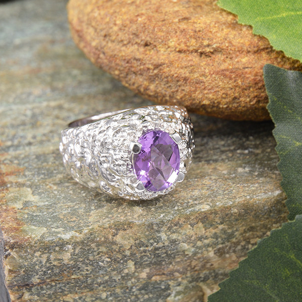 Natural Amethyst 925 Sterling Silver Ring SIZE 7  (SSR0040)