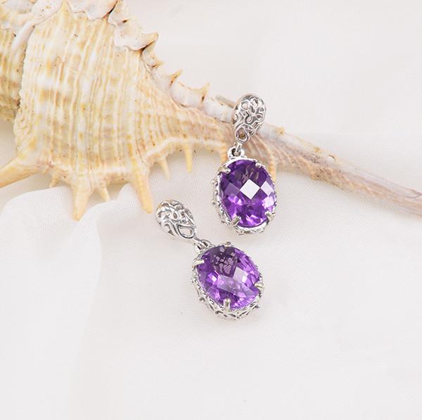 Natural Amethyst 925 Sterling Silver Earrings (SSE0676)