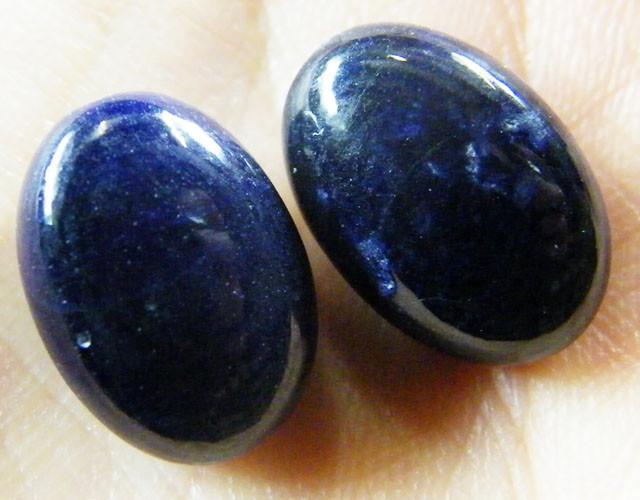 NATURAL PAIR DEEP BLUE SAPPHIRE BEADS 32.2  CTS ST 203