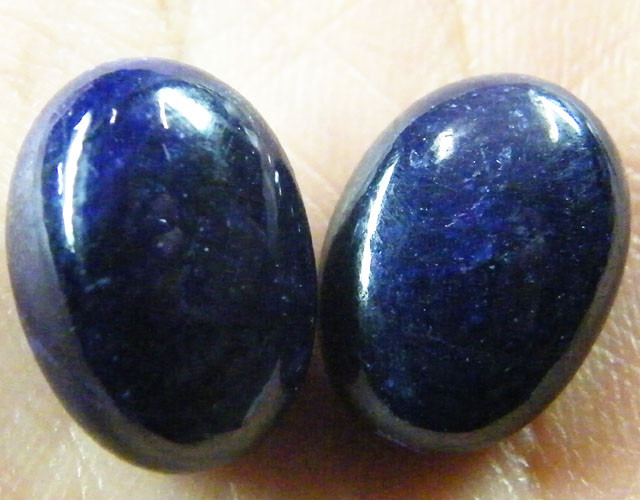 NATURAL PAIR DEEP BLUE SAPPHIRE BEADS  36.85 CTS ST 207