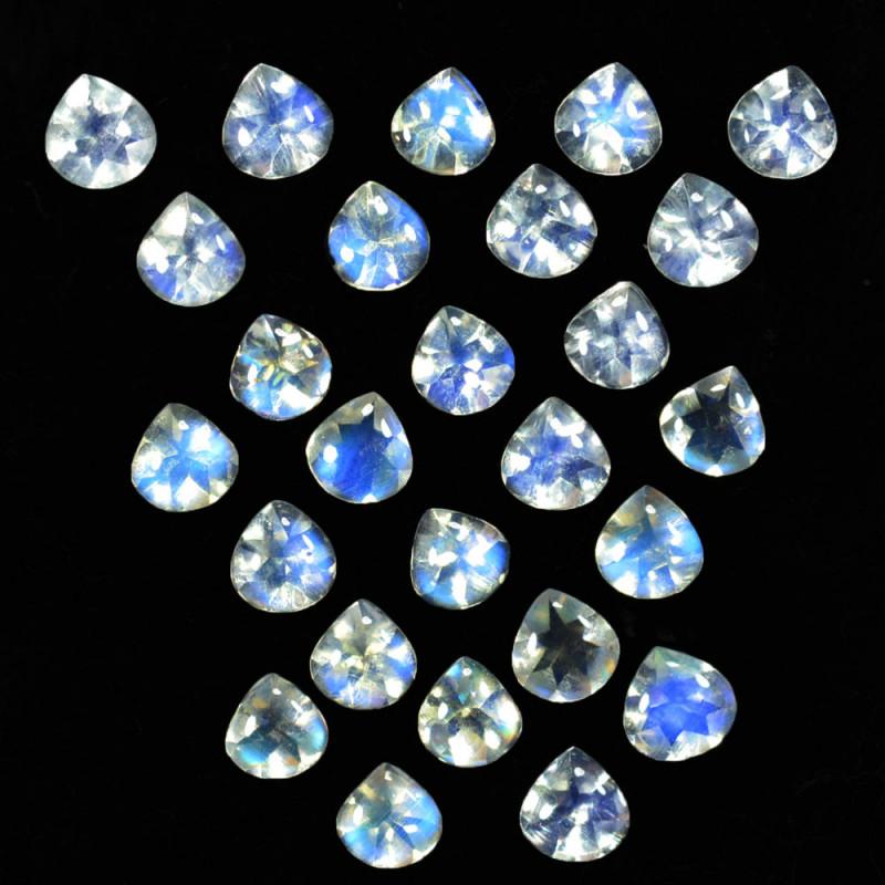 5.06 Cts Untreated Royal Blue Moonstone Heart Cut  4mm Bihar India Parcel