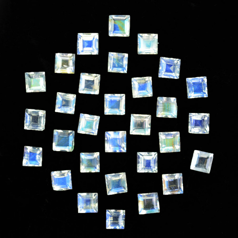 4.95 Cts Untreated Natural Royal Blue Moonstone Square Cut 3mm  Bihar India