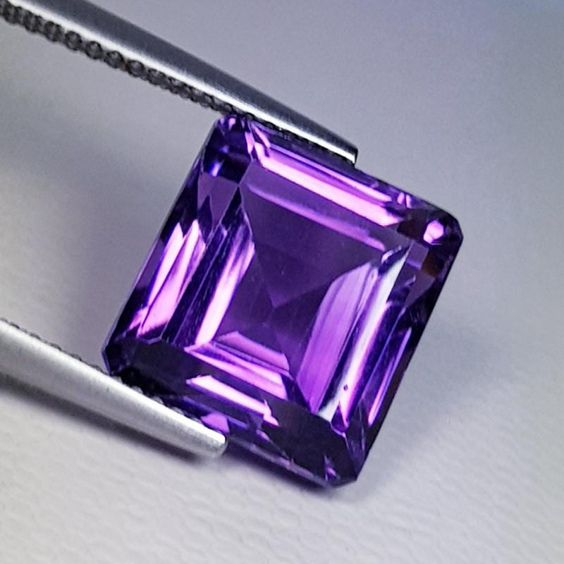 8.34 ct Top Luster Gem Emerald Cut Natural Purple Amethyst