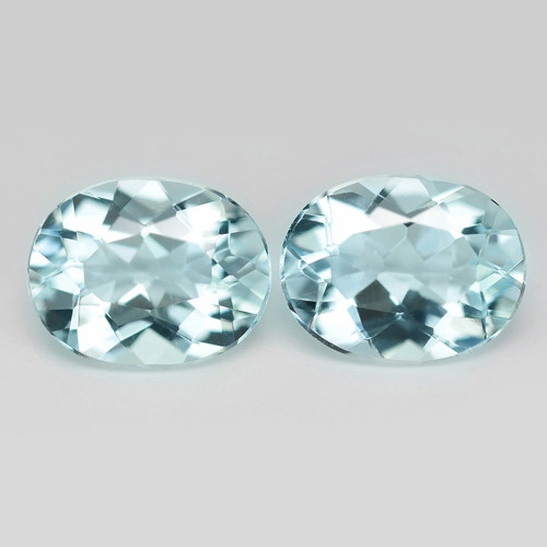 3.09 Cts 2 Pcs Un Heated  Sky Blue Color Natural Aquamarine Loose Gemstone