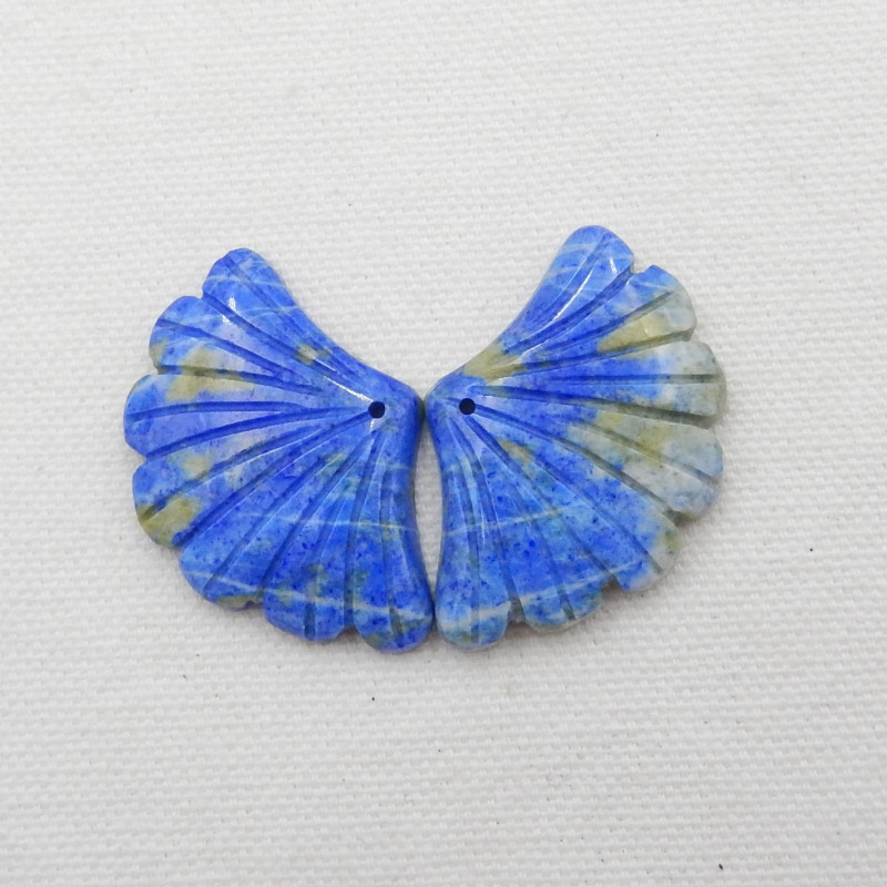 84.5cts Carved Leaf Earrings,Natural Lapis Handcarved Leaf Earrings G649