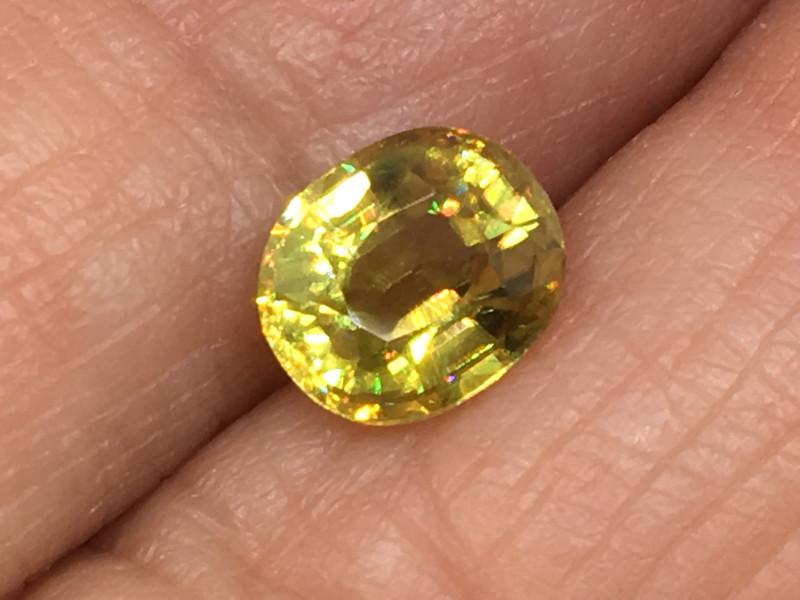 1.14 Carat Sphene Incredible Rainbow Flash Russia Rare !