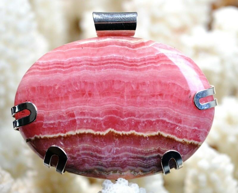 Rhodochrosite 160 carats - pendentif cabochon - Argentine - Argent 925