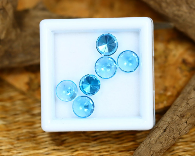 Swiss Topaz 3.33Ct Calibrated Fancy Round 6mm Natural Blue Topaz Lot C2306