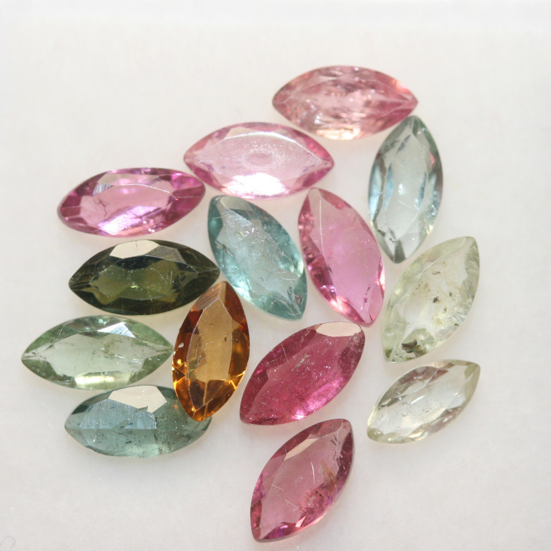 3.25 Ct Tourmaline Lot Faceted Marquise 6x3mm.-(14pcs).-(SKU 242)
