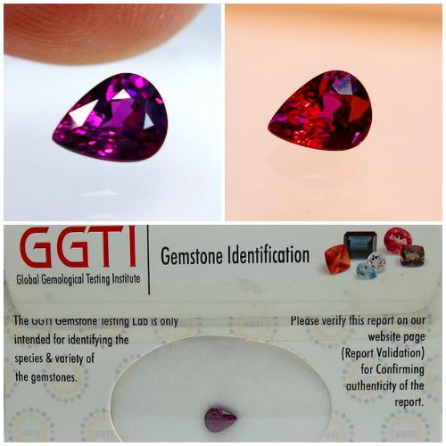 GGTI-Certified-0.90 ctPurple To Red Color Change Garnet Gemstone Natural