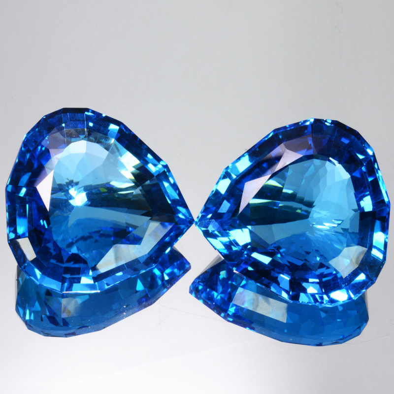 Perfect!! 202.05 Cts Natural  Swiss Blue Topaz Heart Custom Cut Pairs Brazi