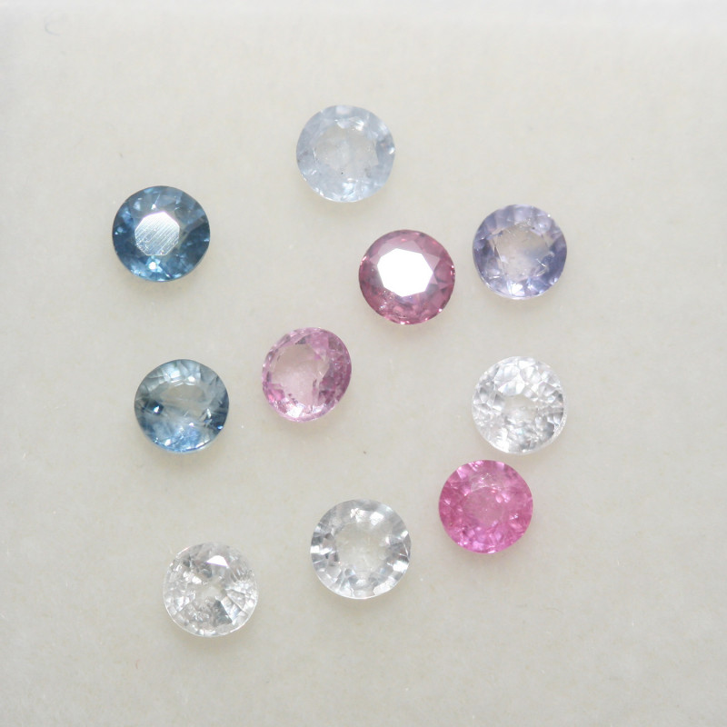1.1Ct Multicolor Sapphire Lot Faceted Round 2.7mm.-(10pcs).-(SKU305)