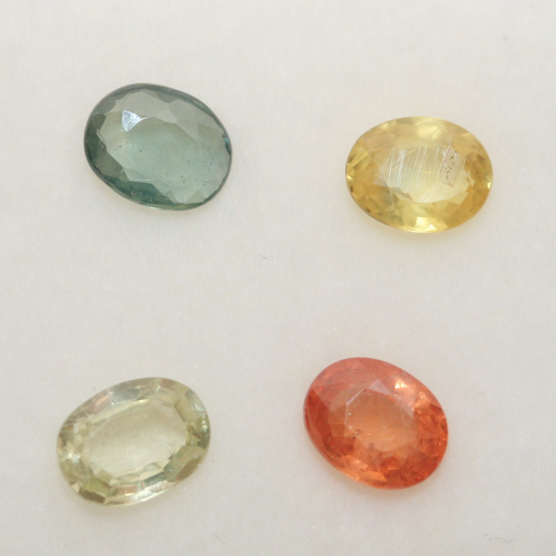 1.88 Ct  Multicolor Sapphire Lot Faceted Oval 5x4mm.(4Pcs).-(SKU318)