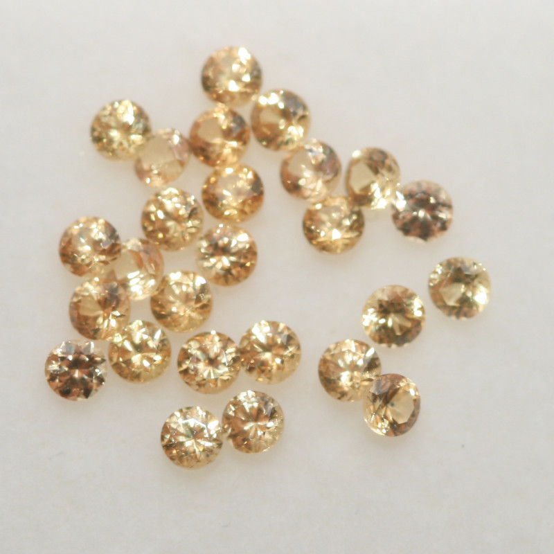 1 Ct  Yellow  Sapphire Lot Faceted Round 1.9mm.-(SKU324)