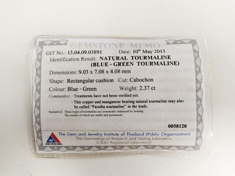 2.37 Cts GIT Certified Copper Bearing Blue-Green Natural Paraiba Tourmaline