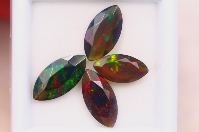 3.35ct Natural Ethiopian Welo Solid Smoked Faceted Opal Lot E88