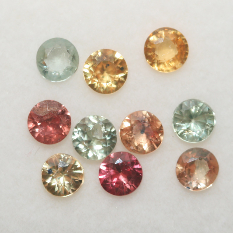 2.02 Ct  Multicolor Sapphire Lot Faceted Round 3.5mm.(10Pcs).-(SKU330)