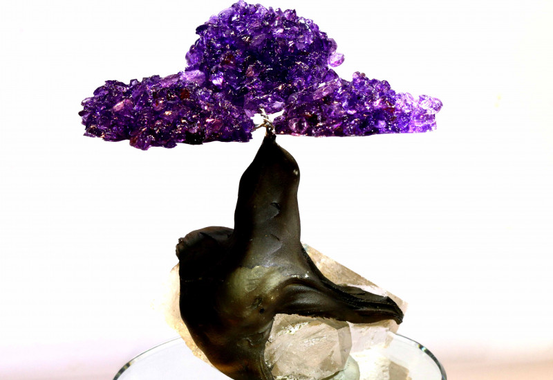 1100 CTS  BEAUTIFUL AMETHYST TREE CARVING   LT-1019