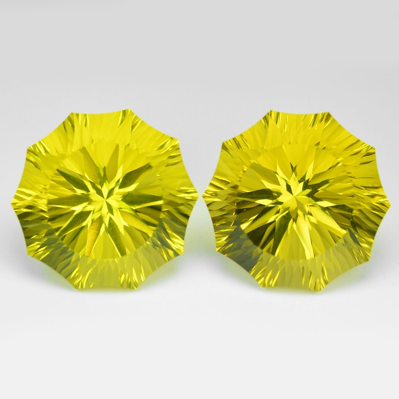42.66 Cts 2pcs  Millennium Cut Fancy Yellow Color Natural Lemon Quartz