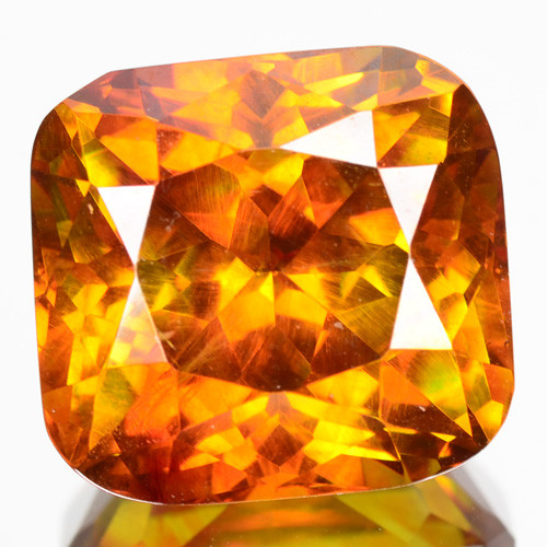 RARE!! 11.75 Cts Unheated Natural Sphalerite Sunset Orange Cushion Cut Spai
