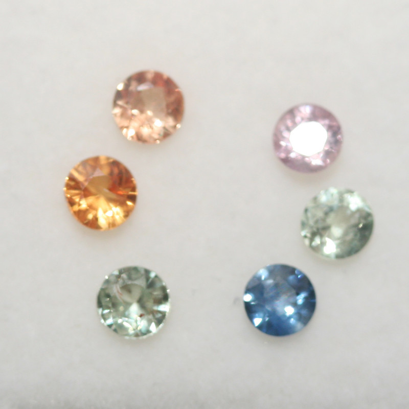 1.18 Ct  Multicolor Sapphire Lot Faceted Round 3.5mm.(6Pcs).-(SKU333)