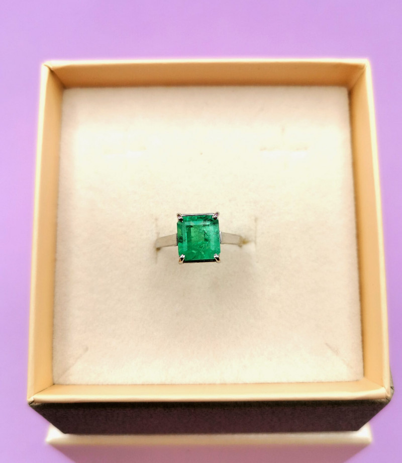 2,48ct Colombian Emerald 18k Solid Gold Ring Colombian Emerald natural emer