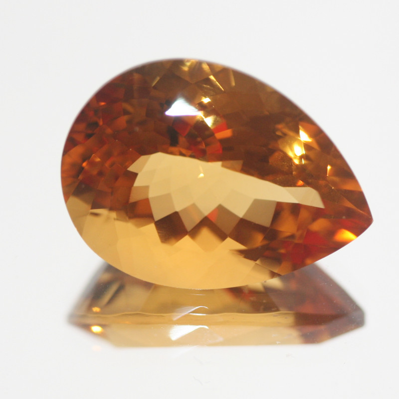 19.4Ct  Top Color Citrine Faceted Drop 21.5x16mm.-(SKU345)